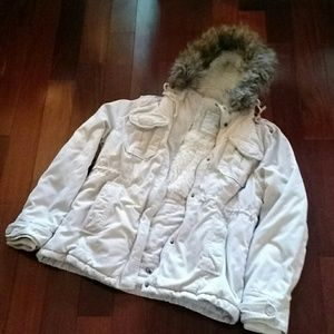 Jacket with faux fur hood